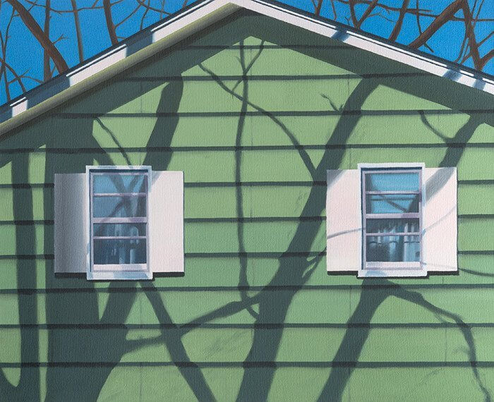 art painting by london based artist Elliott Chambers of a green house