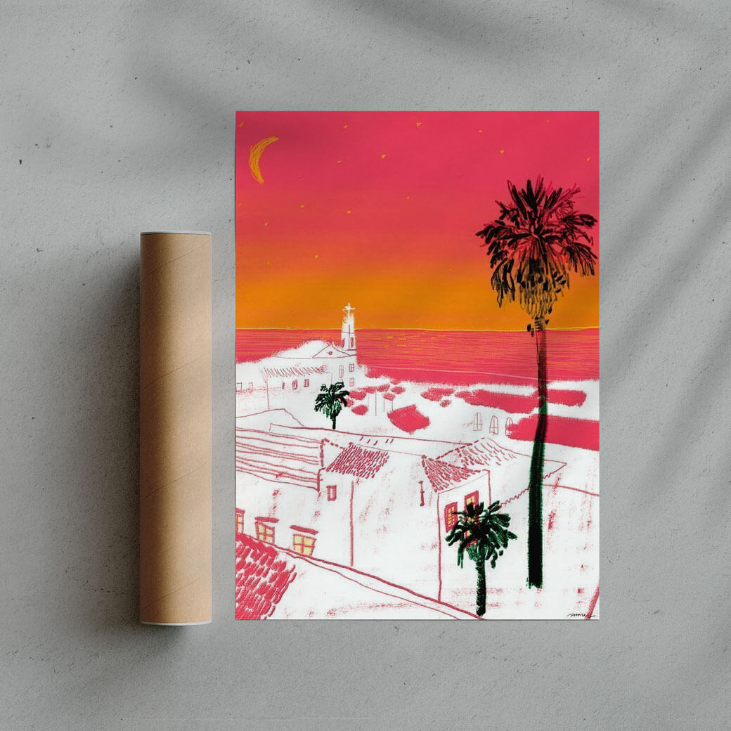 orange illustration poster of a village and palm tree during sunset