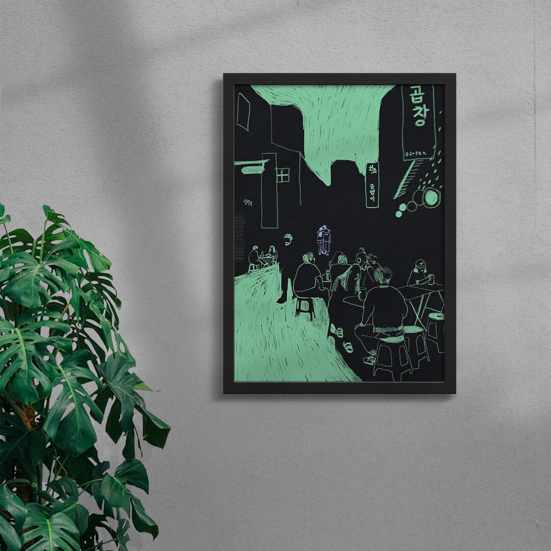 contemporary illustration art print in a black frame and with Chinese signage