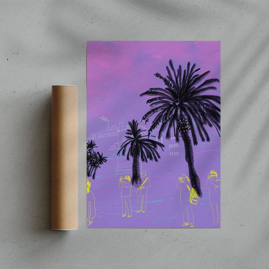purple contemporary illustration poster of palm trees and tourists