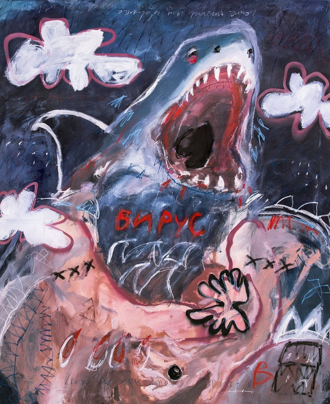 Contemporary fine art painting of a shark by london based artist Valerie Savchits