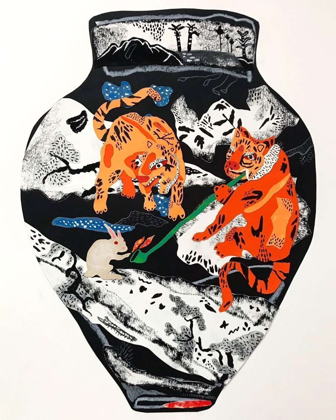 Contemporary art print of a lion vase by chicago artist David Heo