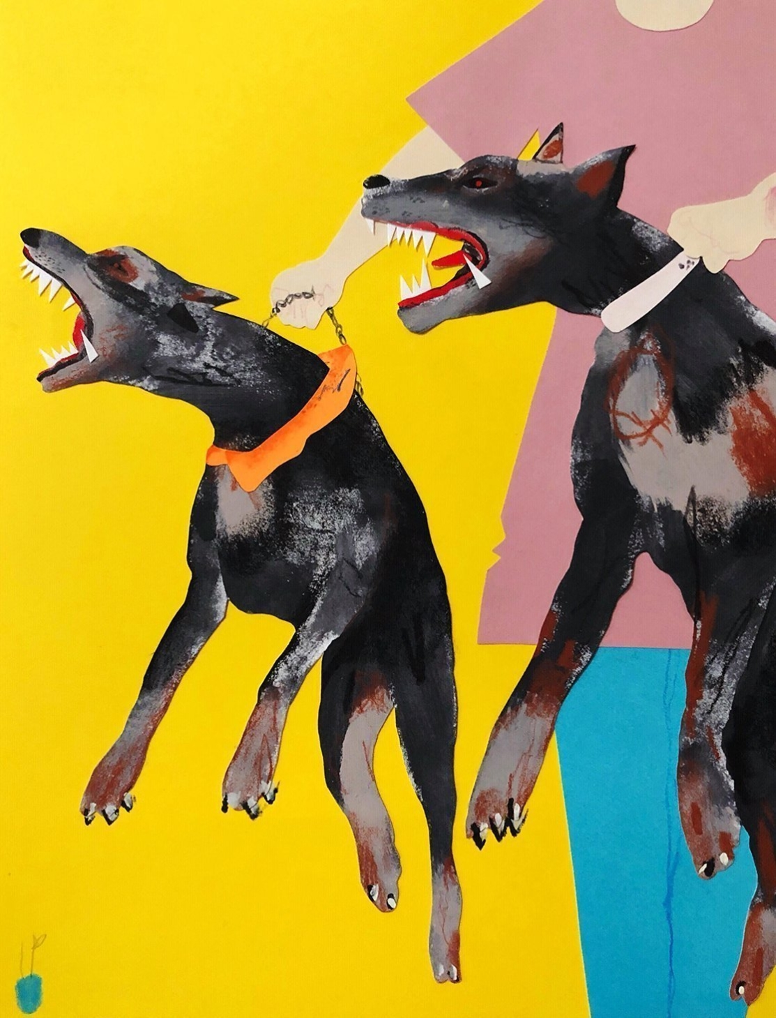 contemporary fine art print by David Heo of aggressive dogs