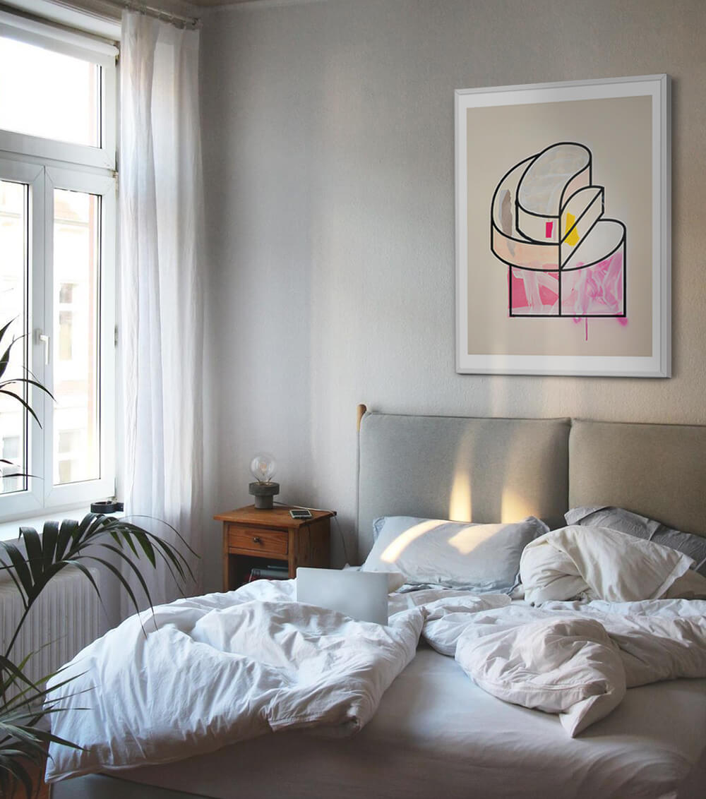DROOL contemporary art print on bedroom wall