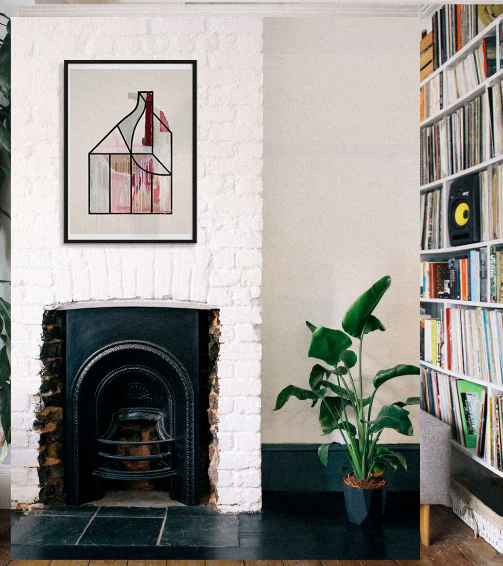 living room with a contemporary framed art print on the wall above a brick fireplace