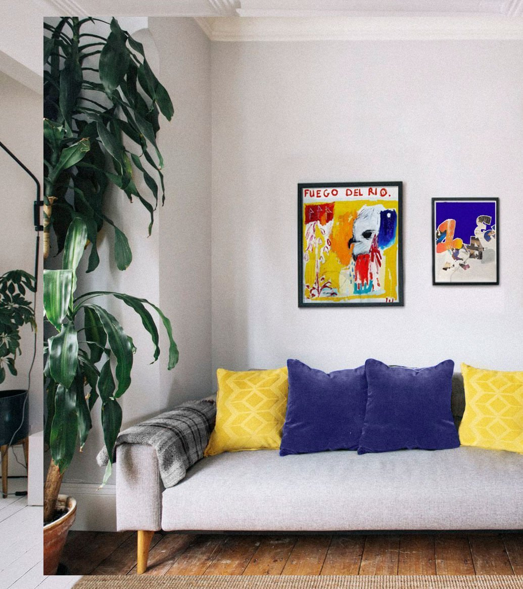 living room inspiration featuring a gallery wall of framed contemporary art print above a sofa