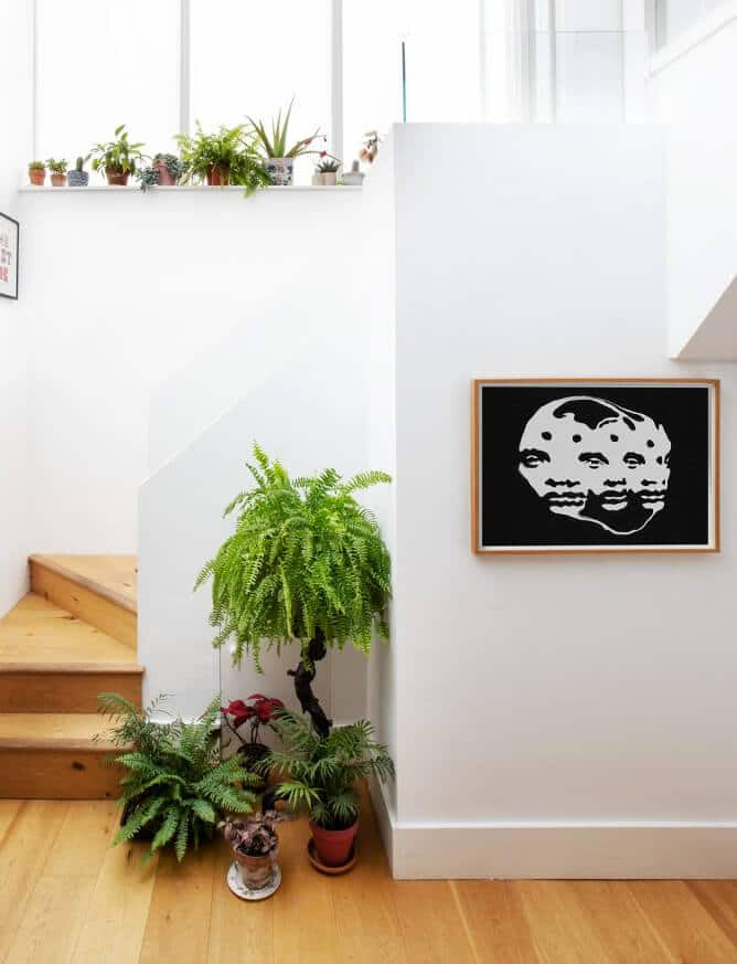 Contemporary Art Print Framed In A Natural Frame Hung In A Hallway