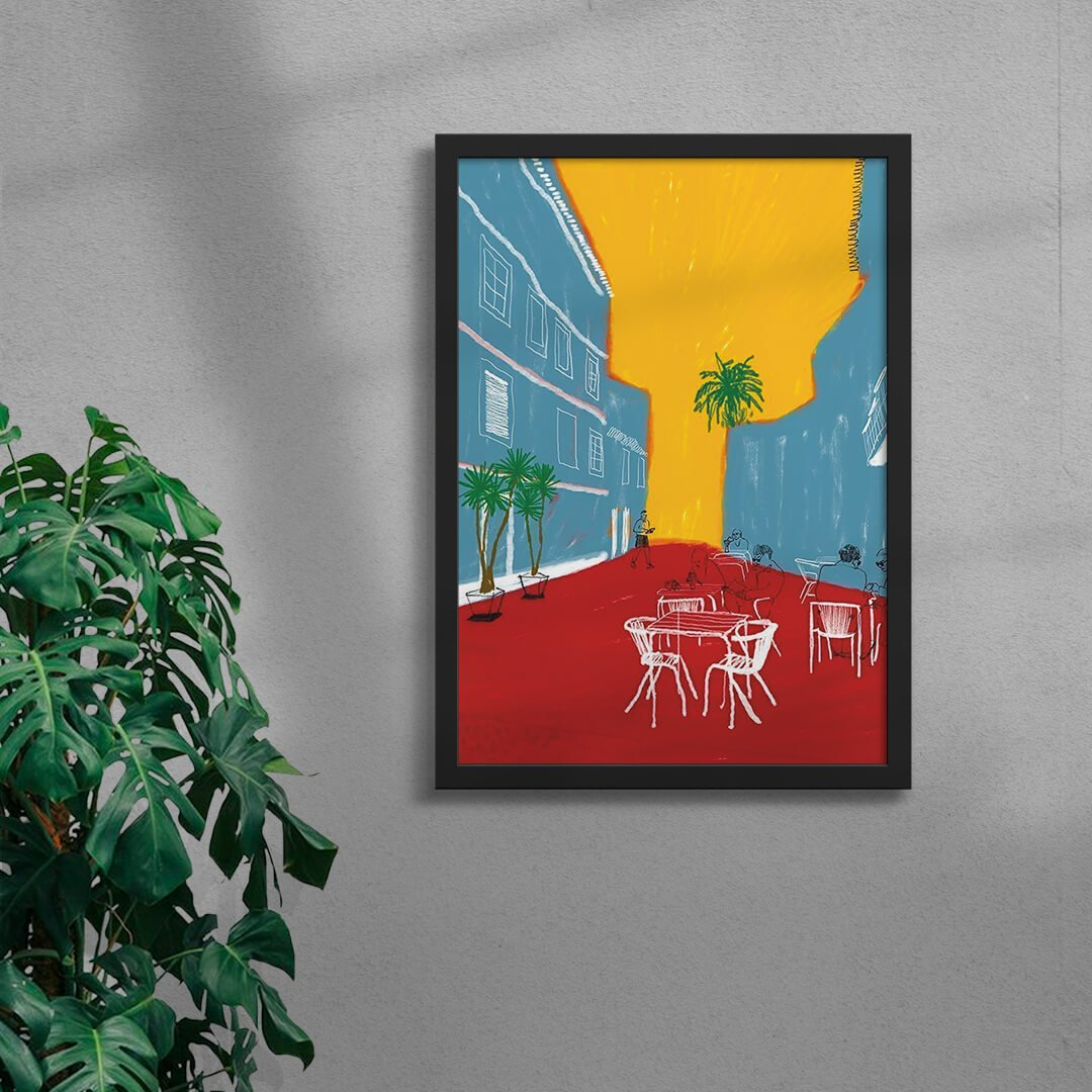 colourful town illustration art print in a black framed