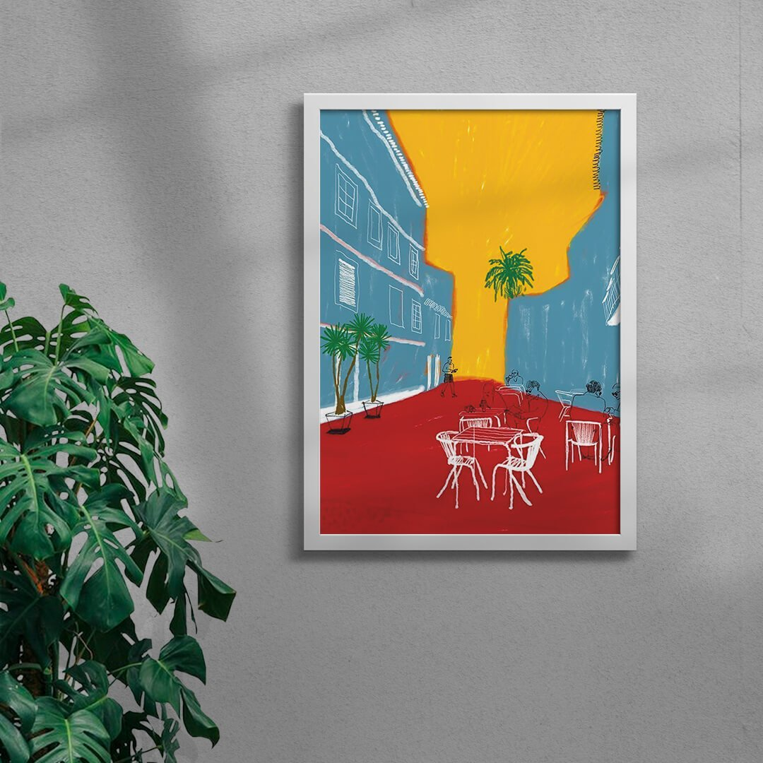 colourful village illustration art print in a white framed