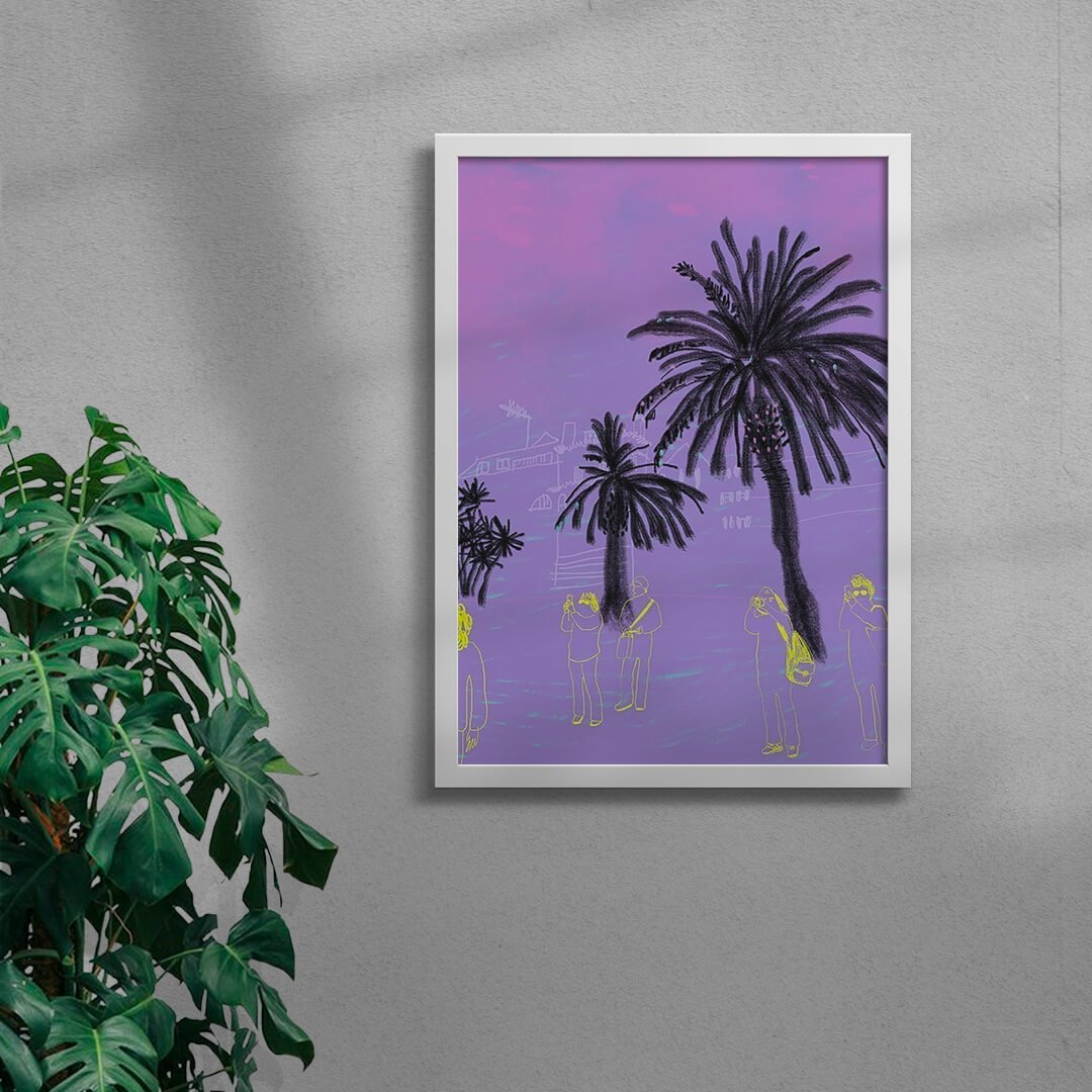 purple contemporary illustration art print in a white framed