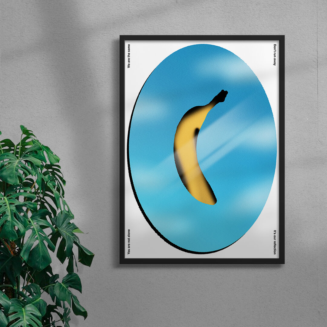 colourful contemporary banana art print in a black frame