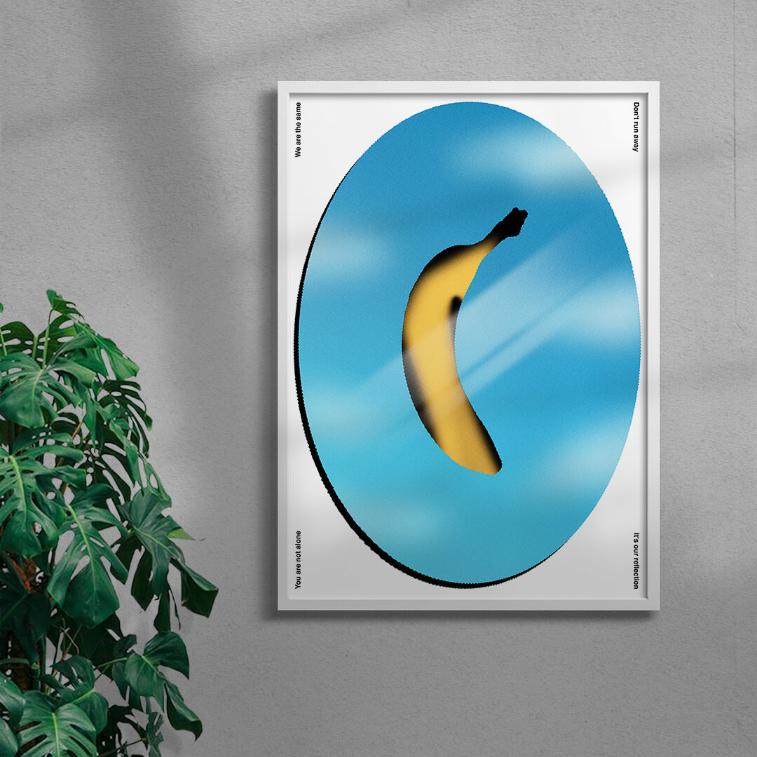 colourful contemporary banana art print in a white frame