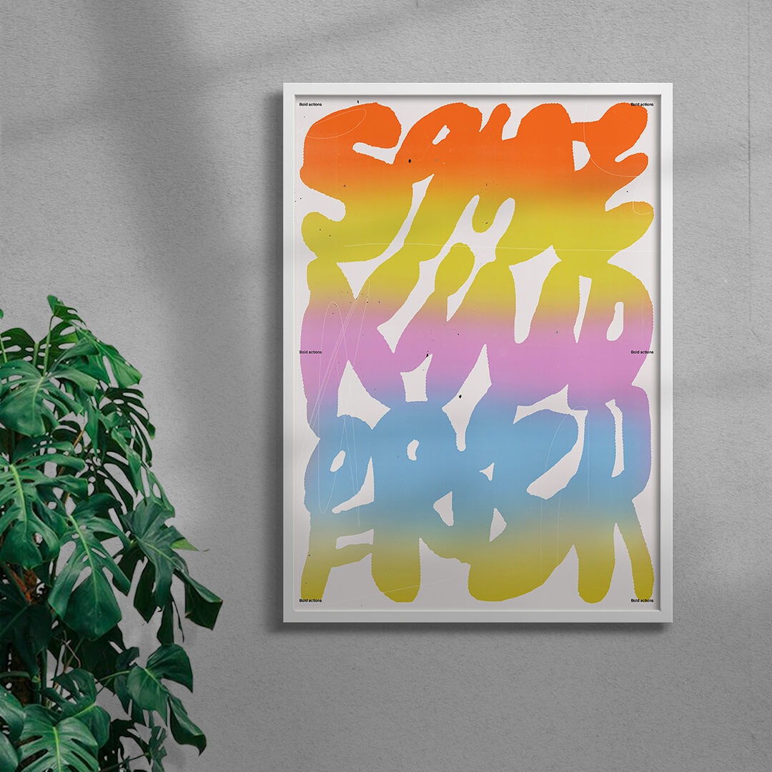 colourful typography art print in a white frame