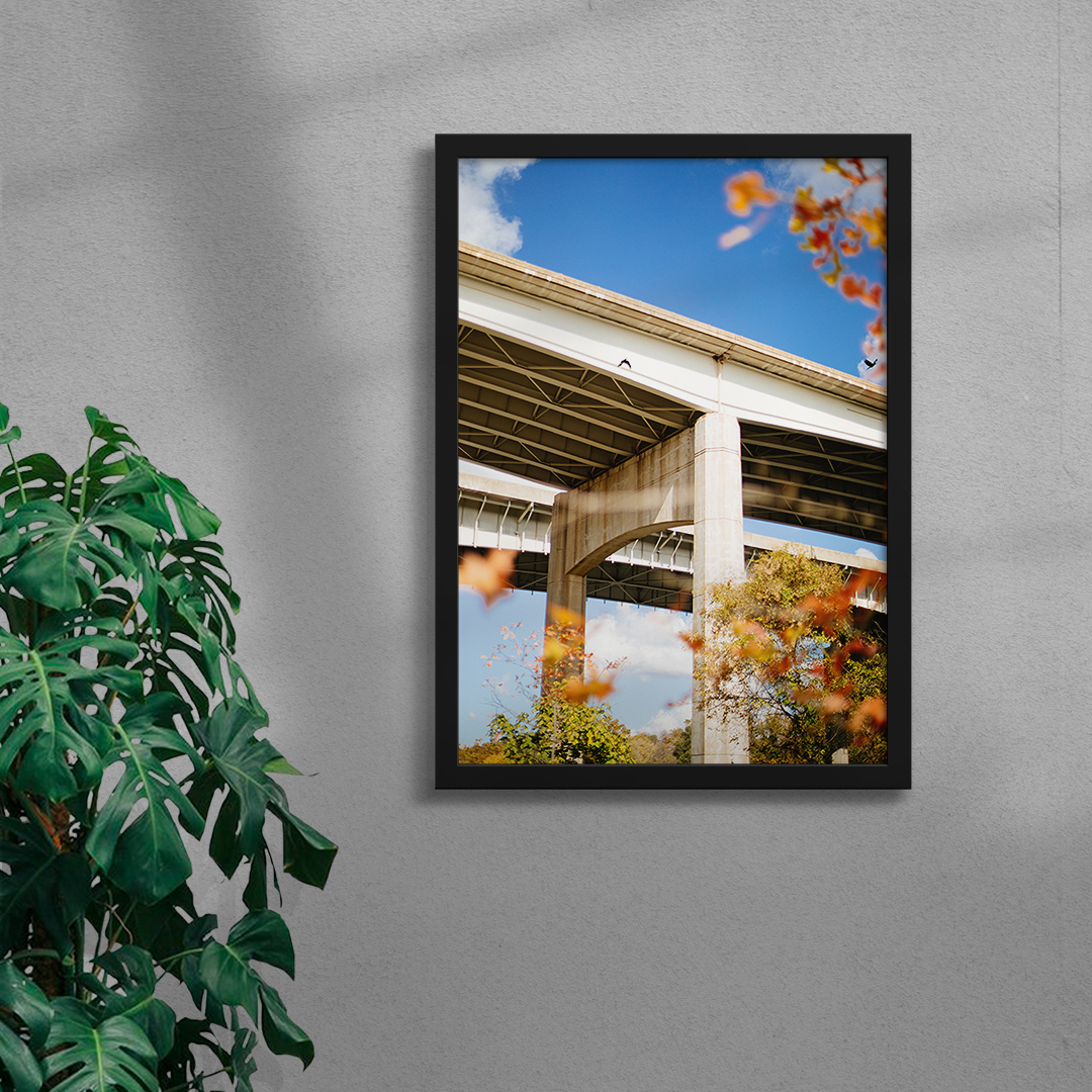 framed photograph of a bridge on a sunny autumnal day