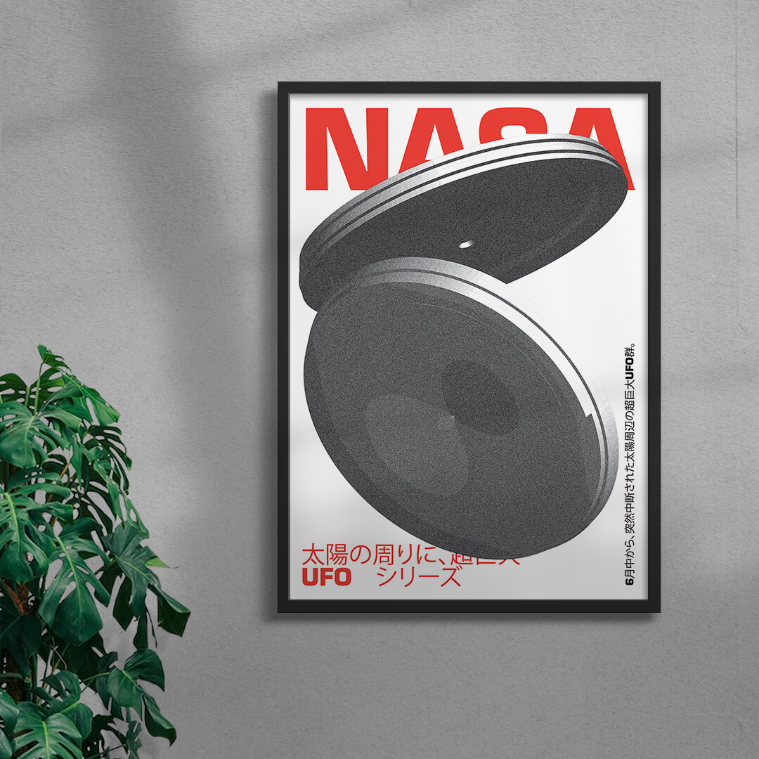 Ufo Graphic Design Print Framed Black