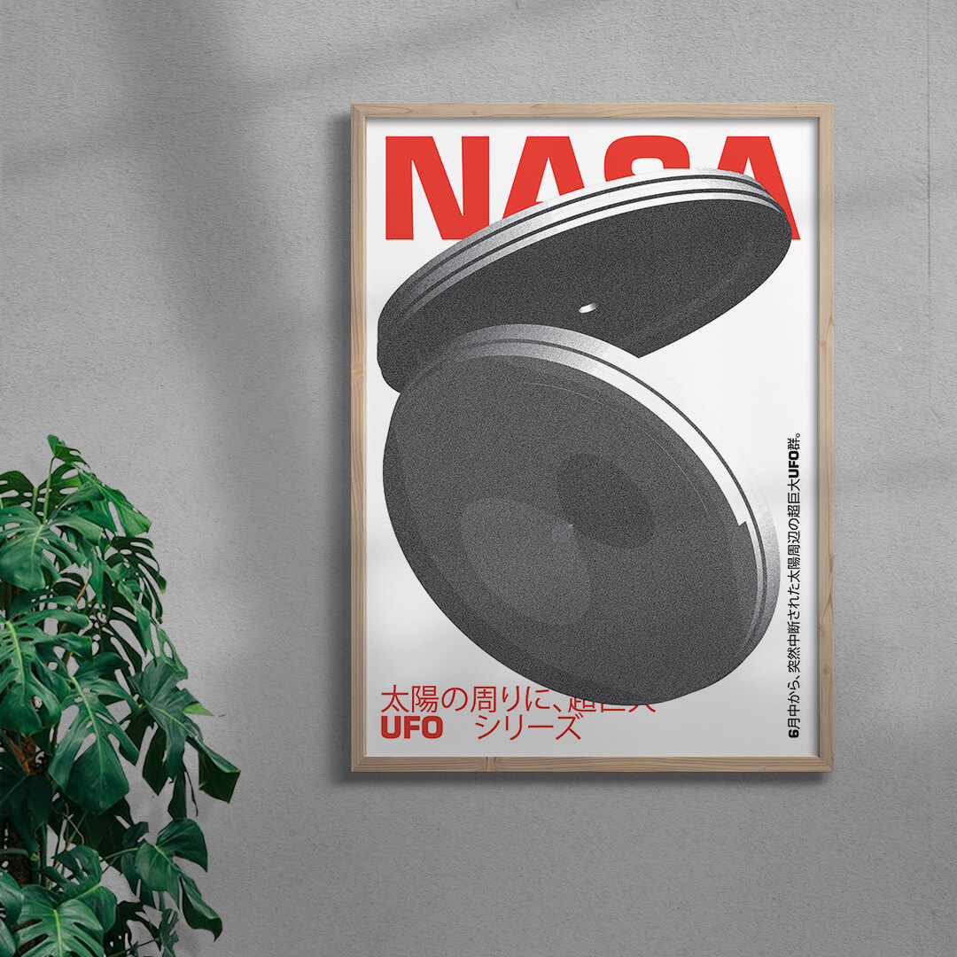 Ufo Graphic Design Print Framed Natural