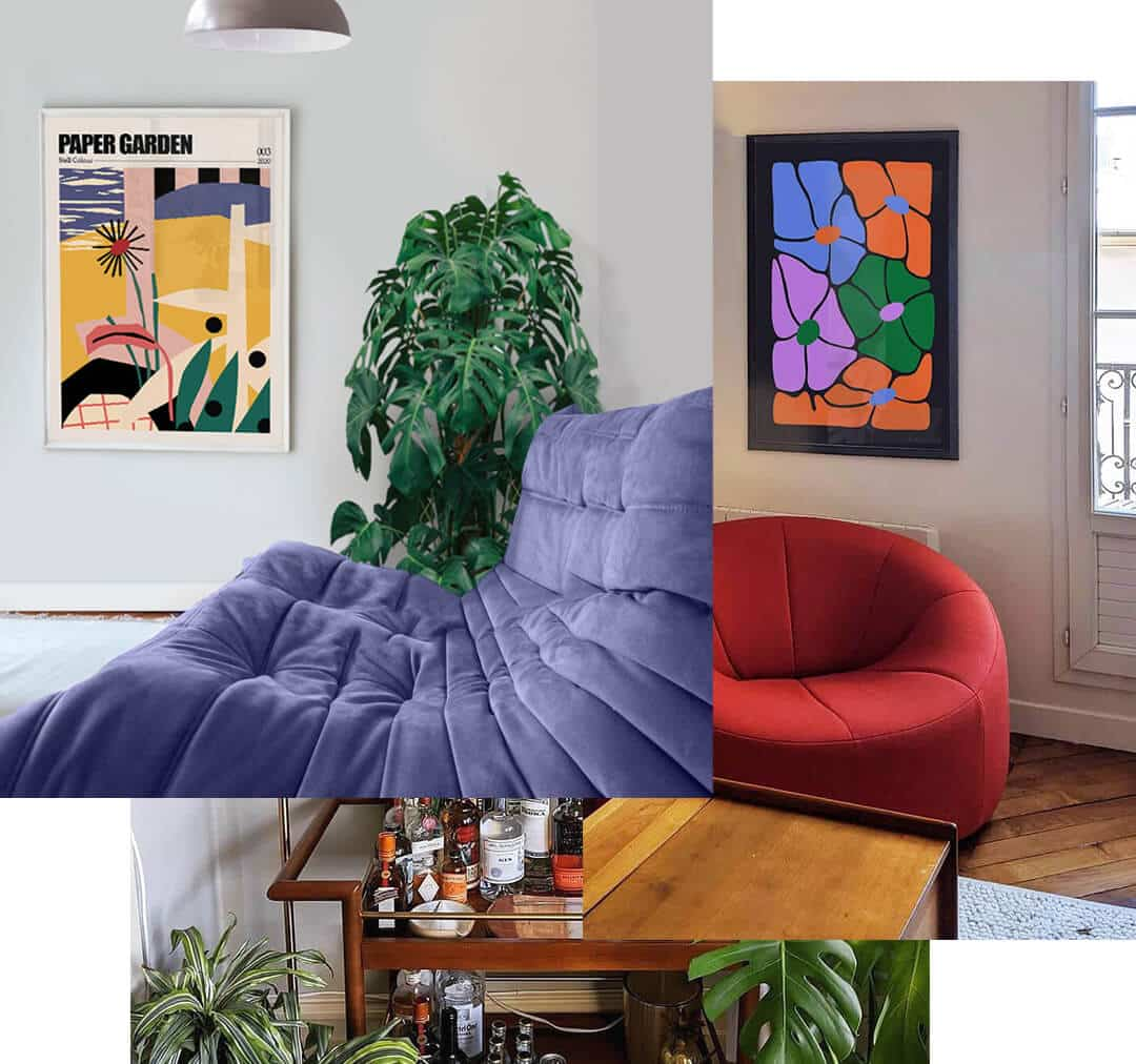 Cool Contemporary framed Art Posters hung on the Walls Of A Selection Of Living Rooms
