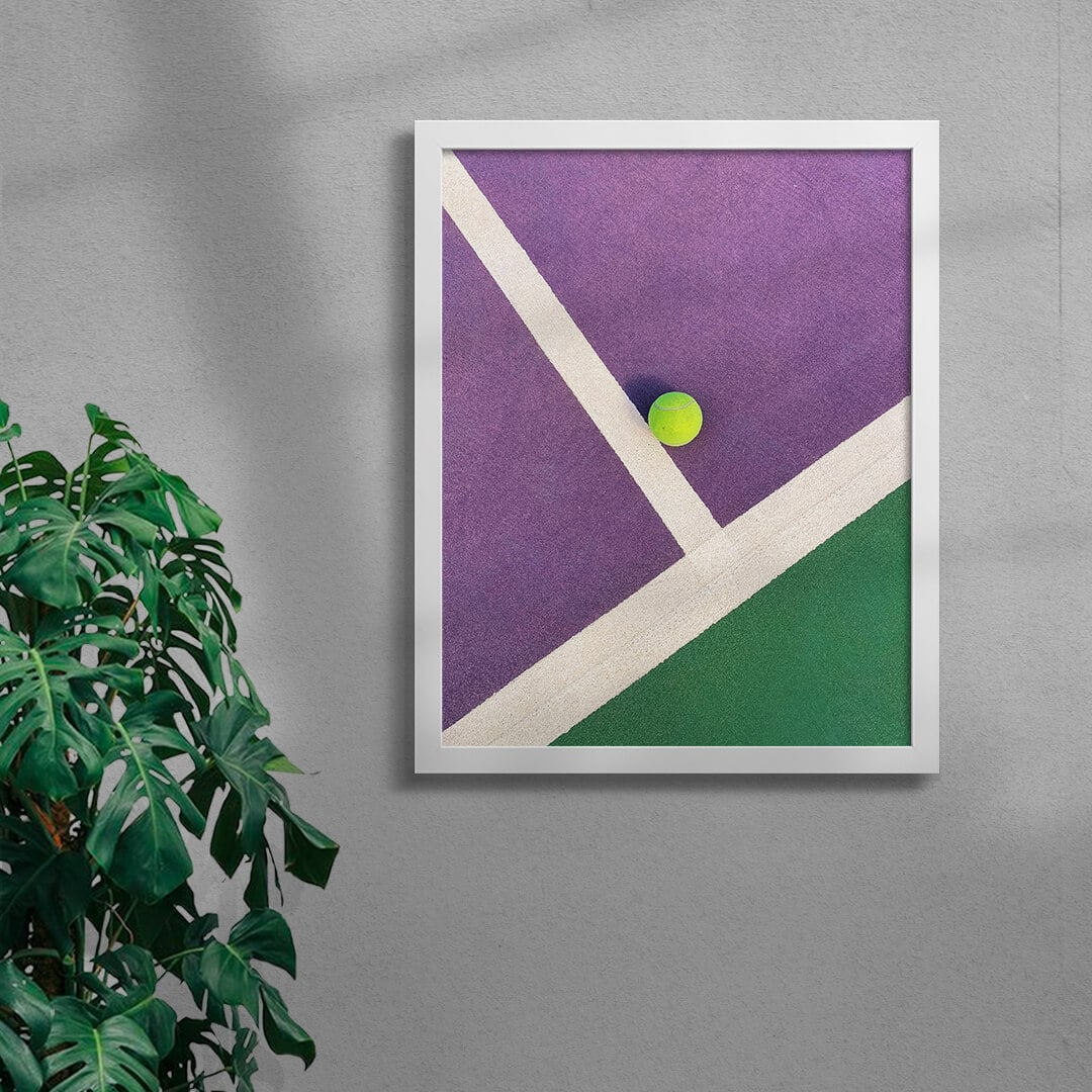 Colourful Tennis Court Art Print By Burak Boylu Framed White