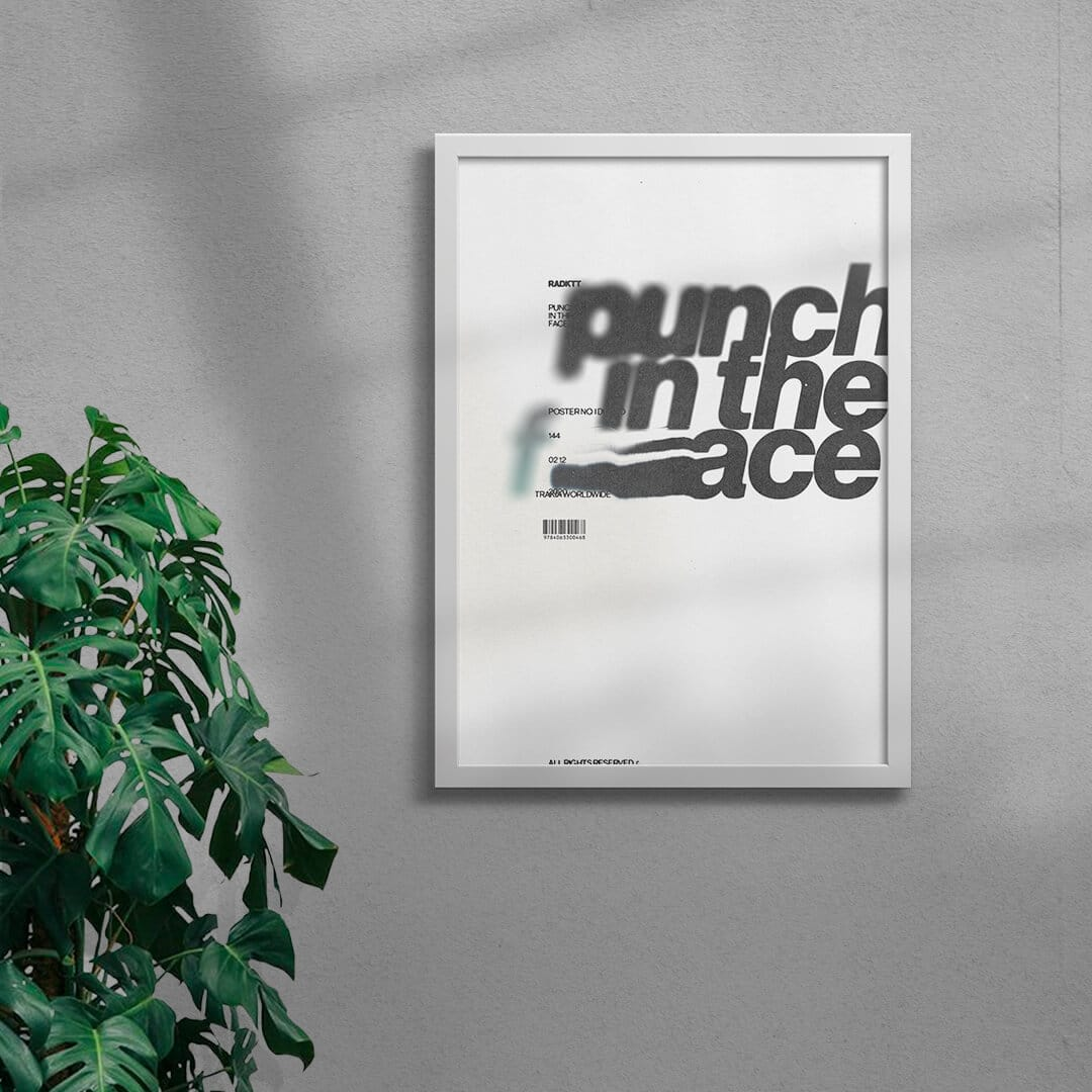Punch In The Face Graphic Design Print Framed White