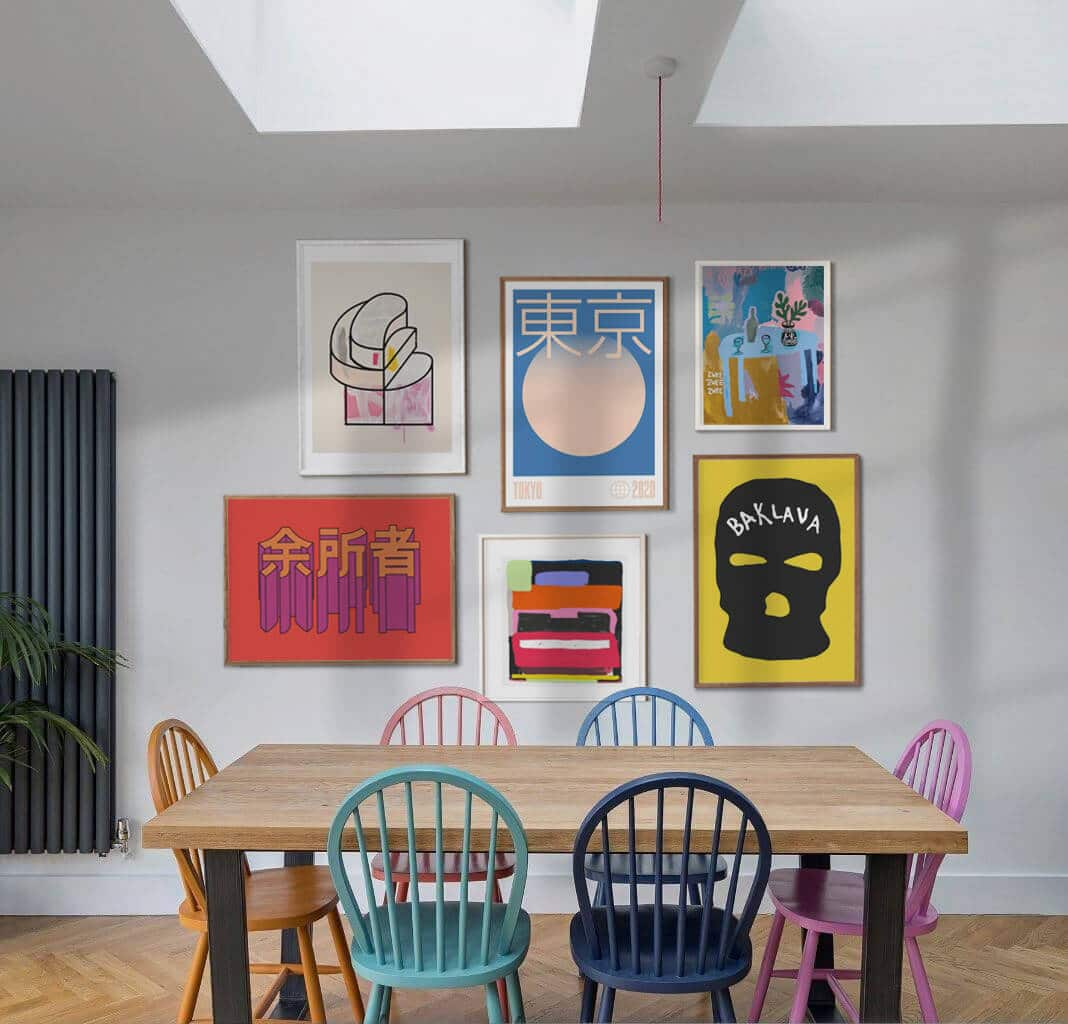 Colourful Gallery Wall Of Graphic Design Posters In A Dinning Room