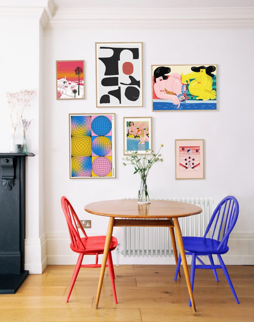Vibrant Gallery Wall Featuring 6 Art Prints