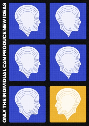 retro futuristic blue and yellow contemporary art print. The print depicts 6 illustrated heads with white typography. This minimalist artwork features a grainy background which provides more depth to the motif.