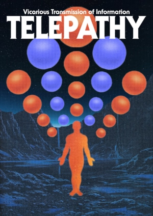 Telepathy poster by graphic designer George Kempster. Shop this blue and red contemporary art print
