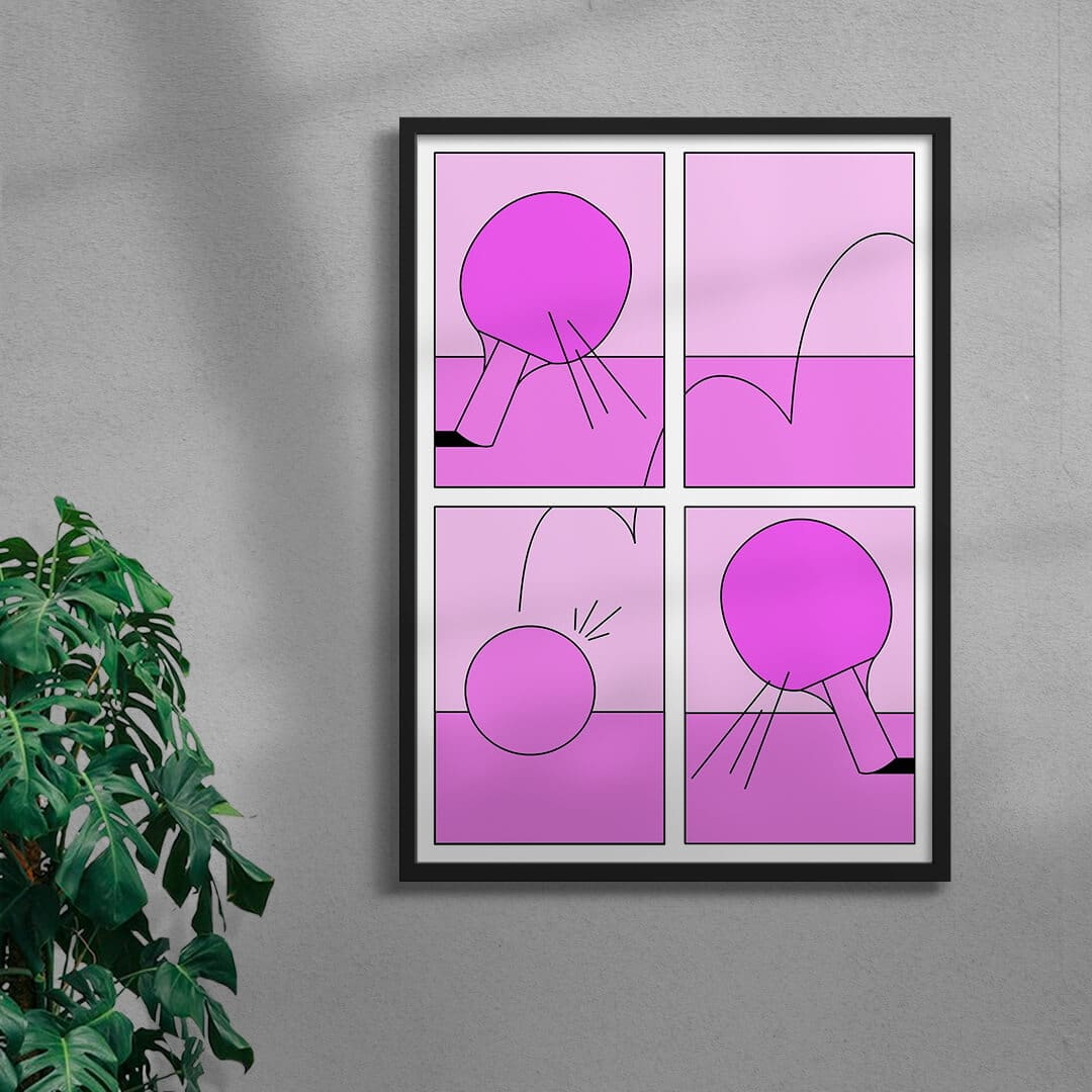 Ping Pong Game By Petra Framed Black