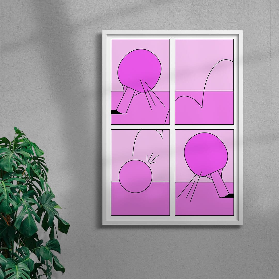 Ping Pong Game By Petra Framed White