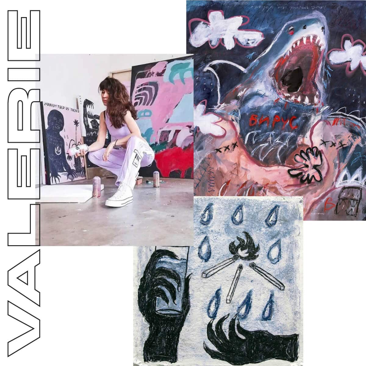 London based artist Valerie Savchits kneeing in her artist studio in front of two canvas paintings