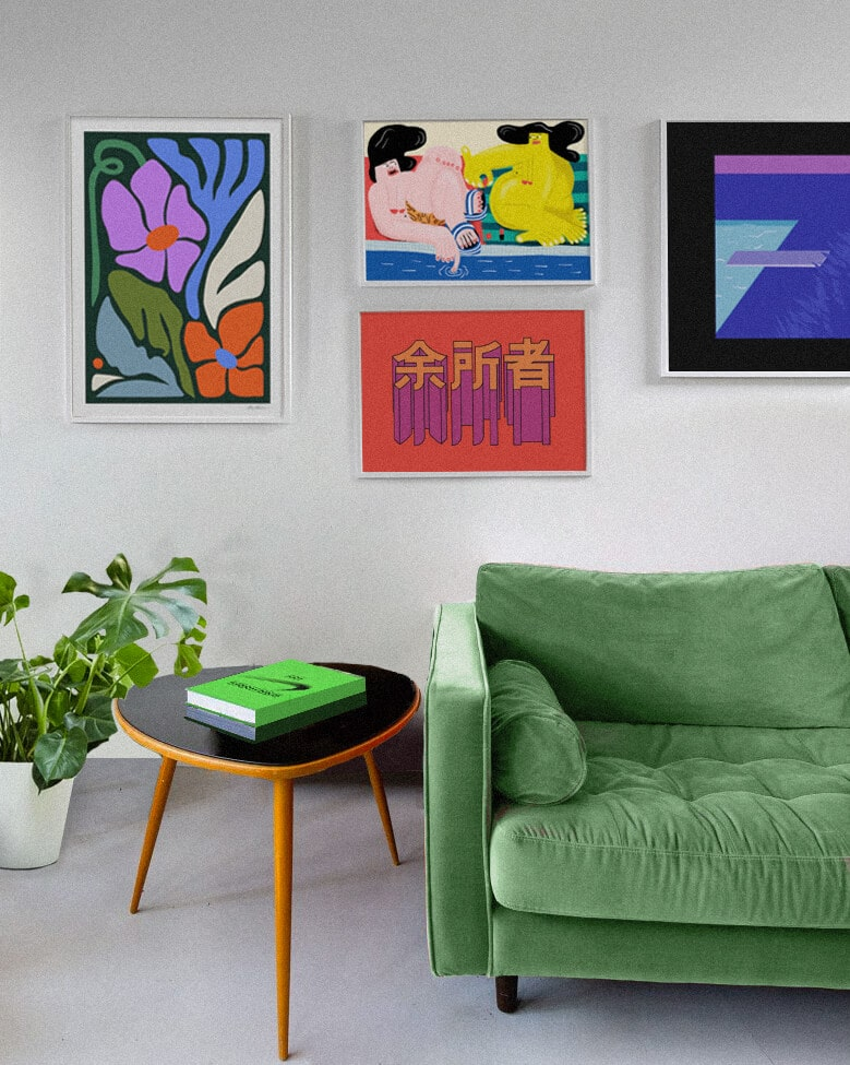 Bold Coloured Living Room With A Bright Green Sofa, Large Contemporary Framed Artworks On The Wall And Nike's Virgil Abloh Book On The Side Table