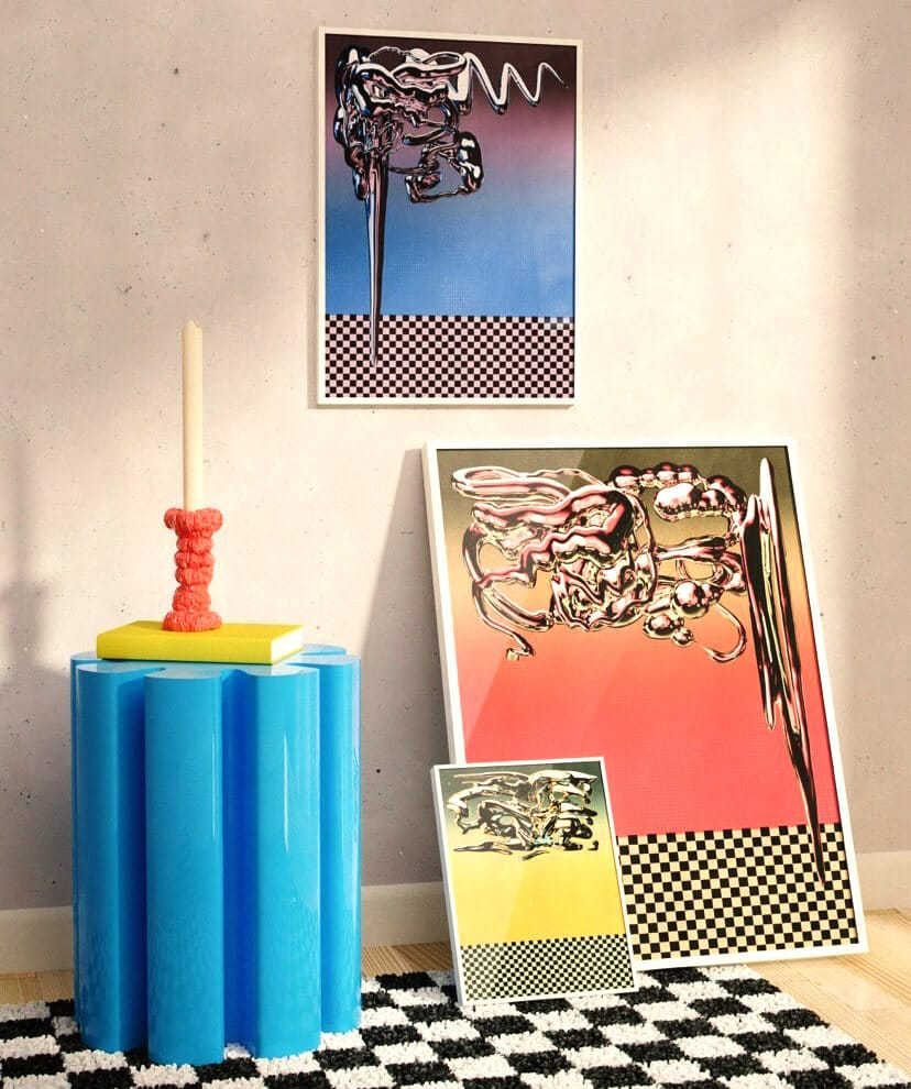 Tristan Miller framed artworks in a funky interior with a check rug and contemporary side table